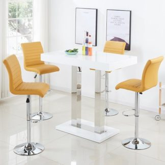 An Image of Caprice Bar Table In White Gloss With 4 Ripple Curry Stools