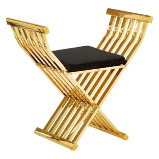 An Image of Fafnir Gold Cross Design Occasional Chair With Black Cushion