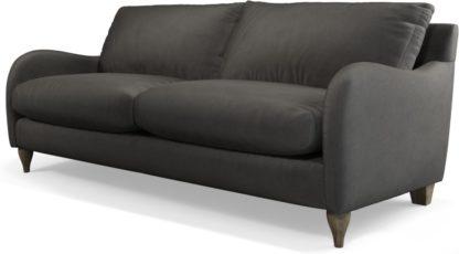 An Image of Custom MADE Sofia 3 Seater Sofa, Plush Asphalt Velvet with Light Wood Leg