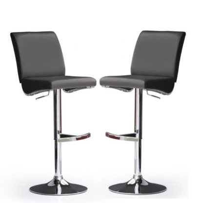 An Image of Diaz Bar Stools In Black Faux Leather in A Pair