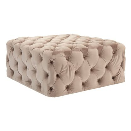 An Image of Libertas Velvet Button Tufted Footstool In Coffee