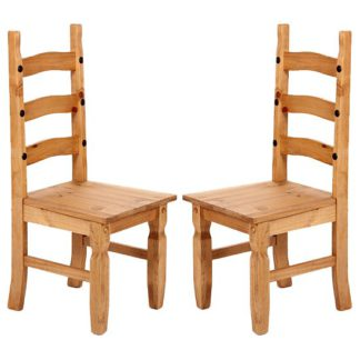 An Image of Minoris Light Pine Wooden Dining Chairs In Pair