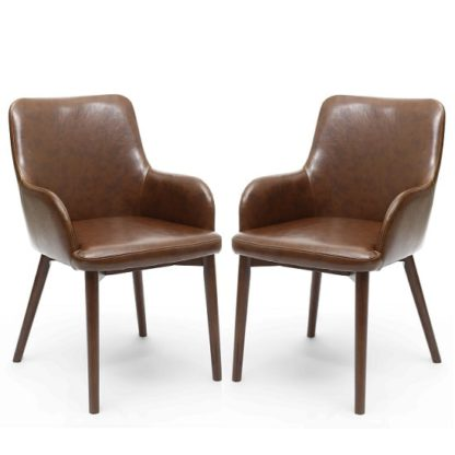 An Image of Zayno Dining Chair In Brown Leather Match In A Pair