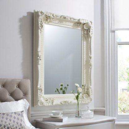 An Image of Louisa Baroque Style Wall Mirror In Matt Cream