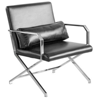 An Image of Acamar Faux Leather Leisure Lounge Chair In Black