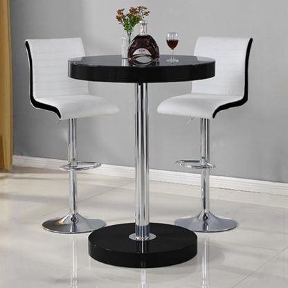 An Image of Havana Bar Table In Black With 2 Ritz White And Black Bar Stools