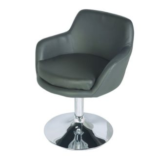 An Image of Bucketeer Bar Chair In Charcoal Grey With Chrome Base