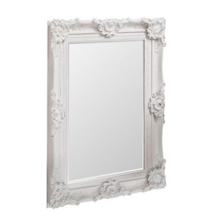 An Image of Valley Wall Mirror Rectangular In White With Baroque Style
