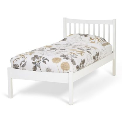 An Image of Alice Hevea Wooden Single Bed In Opal White
