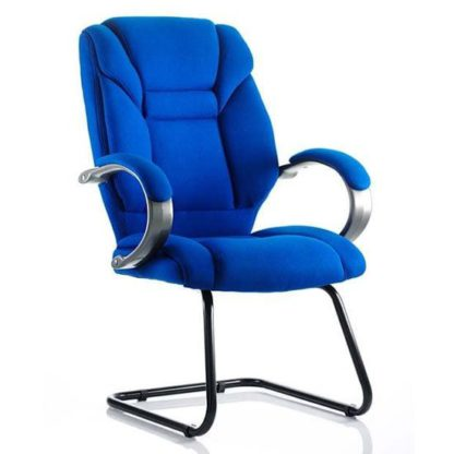 An Image of Galloway Fabric Cantilever Visitor Chair In Blue With Arms