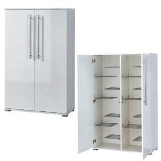 An Image of Inside Shoe Storage Cabinet In White Gloss With 2 Doors