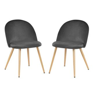 An Image of Swart Velvet Dining Chairs In Grey With Oak Legs In A Pair