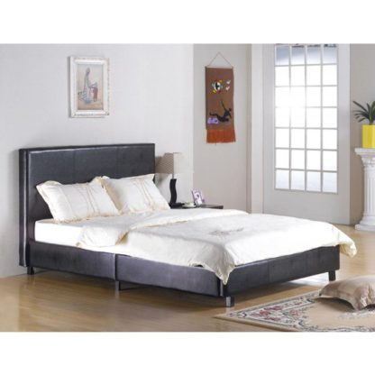 An Image of Fusion Faux Leather King Size Bed In Black