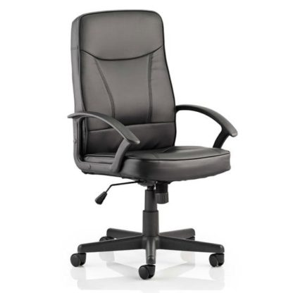 An Image of Blitz Leather Executive Office Chair In Black With Arms