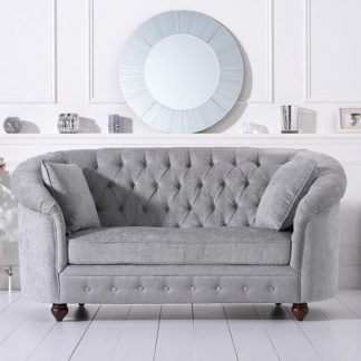 An Image of Astoria Chesterfield 2 Seater Sofa In Grey Plush Fabric