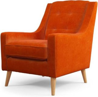 An Image of Content by Terence Conran Tobias, Armchair, Plush Paprika Velvet, Light Wood Leg