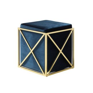 An Image of Farran Stool In Blue Velvet With Gold Plated Stainless Steel