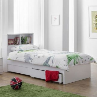 An Image of Arden Bookcase Bed In White High Gloss With Underbed Drawers