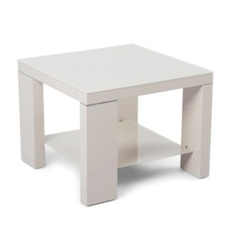 An Image of Alford Glass Side Table Square With Cream High Gloss