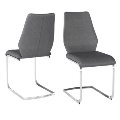 An Image of Agata Grey Faux Leather Dining Chairs In Pair