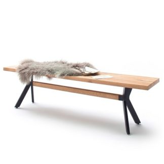 An Image of Norwich Wooden Dining Bench Rectangular In Wild Oak