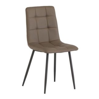 An Image of Virgo Faux Leather Dining Chair In Taupe