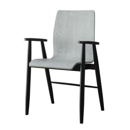 An Image of Hector Contemporary Wooden Home Office Chair In Grey Ash
