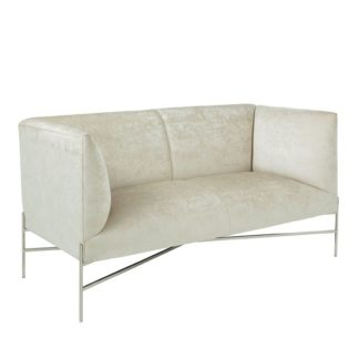 An Image of Blaze Fabric 2 Seater Sofa In Cream And Polished Stainless Steel
