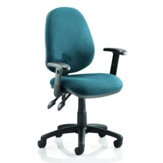 An Image of Luna II Office Chair In Maringa Teal With Arms