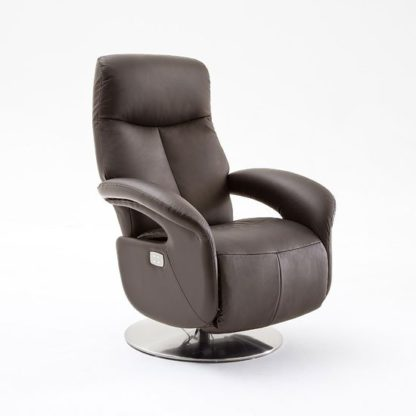 An Image of Limburg Recliner Chair In Brown Leather And Stainless Steel Base