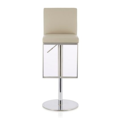 An Image of Cuban Bar Stool In Beige Faux Leather And Stainless Steel Base