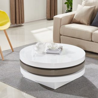 An Image of Triplo Rotating Coffee Table In White And Stone High Gloss