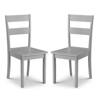 An Image of Devanna Wooden Dining Chair In Grey Lacquer In A Pair