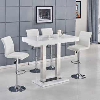 An Image of Caprice Bar Table In White High Gloss With 4 Ripple Bar Stools