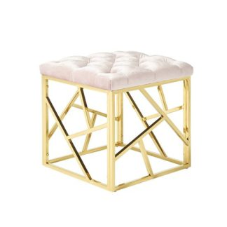 An Image of Allen Stool In Light Pink Velvet And Gold Plated Steel Base
