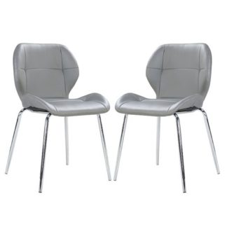 An Image of Darcy Dining Chair In Grey Faux Leather in A Pair