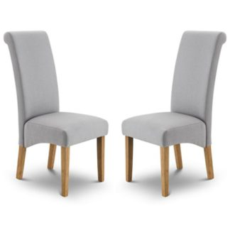 An Image of Rio Shale Grey Linen Fabric Dining Chair In Pair
