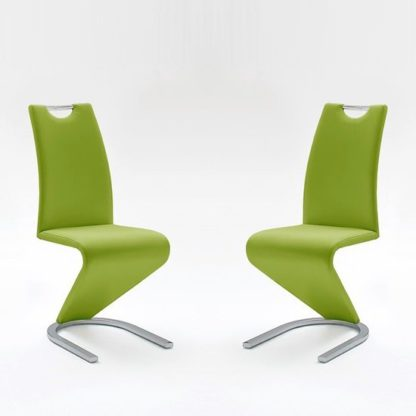 An Image of Amado Dining Chair In Lime Faux Leather In A Pair