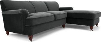 An Image of Orson Right Hand Facing Chaise End Corner Sofa, Midnight Grey Velvet