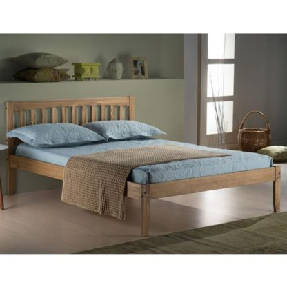 An Image of Porto Wooden Double Bed In Waxed Pine