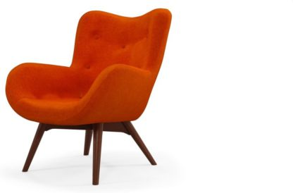 An Image of Custom MADE Doris Accent Armchair, Citrus Orange Velvet with Dark Wood Legs
