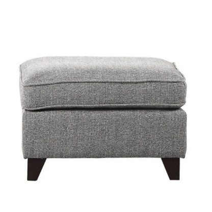 An Image of Orsen Fabric Foot Stool In Zinc With Dark Wooden Legs