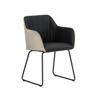 An Image of Greco Arm Chair In Black Faux Leather And Taupe Velvet