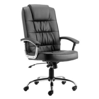 An Image of Moore Leather Deluxe Executive Office Chair In Black With Arms