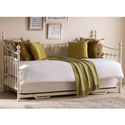 An Image of Versailles Metal Day Bed In Stone White