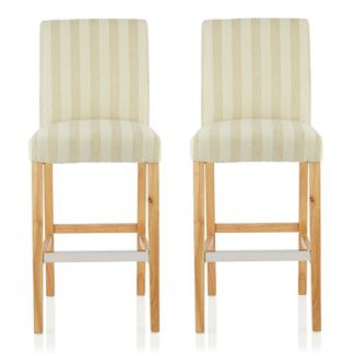 An Image of Alden Bar Stools In Cream Fabric And Oak Legs In A Pair