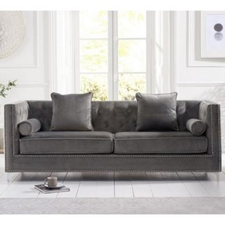 An Image of Mulberry Modern Fabric 4 Seater Sofa In Grey Velvet