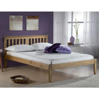An Image of Salvador Wooden Double Bed In Antique Pine