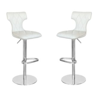 An Image of Ava Cream Leather Bar Stool In Pair