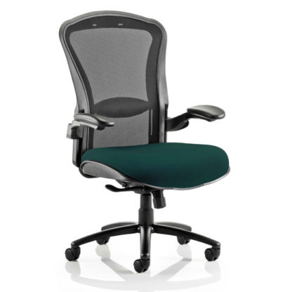 An Image of Houston Heavy Black Back Office Chair With Maringa Teal Seat